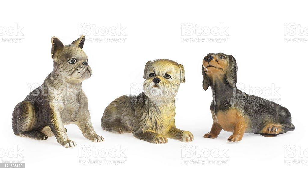 Isolated three toy dog royalty-free stock photo
