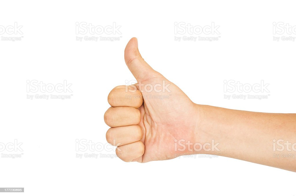 isolated thumbs up for praise or like royalty-free stock photo