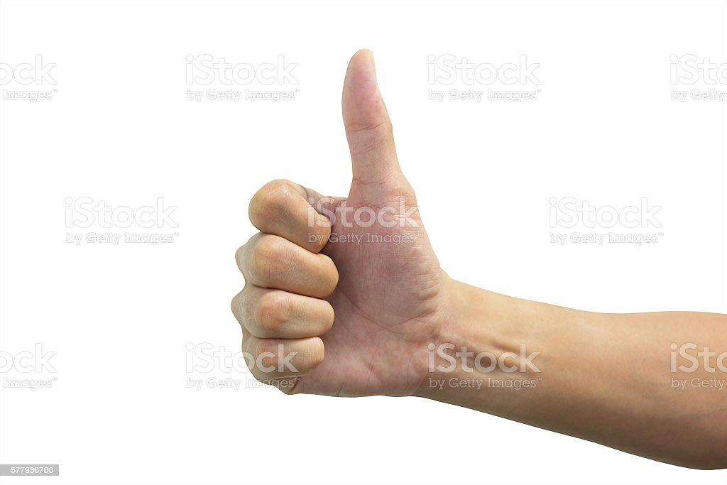 Isolated thump up hand stock photo