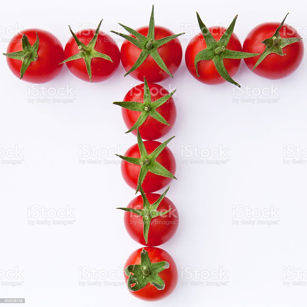 Isolated tomatos arranged to form the fruit's initial letter stock photo