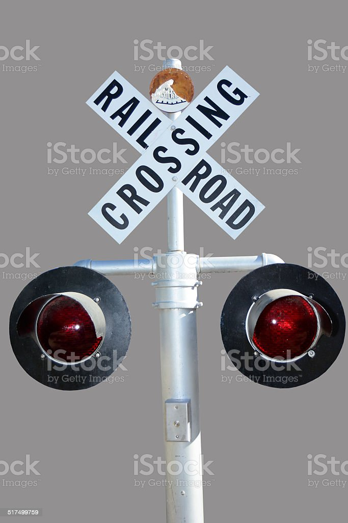 Isolated Traffic Light On Railway stock photo