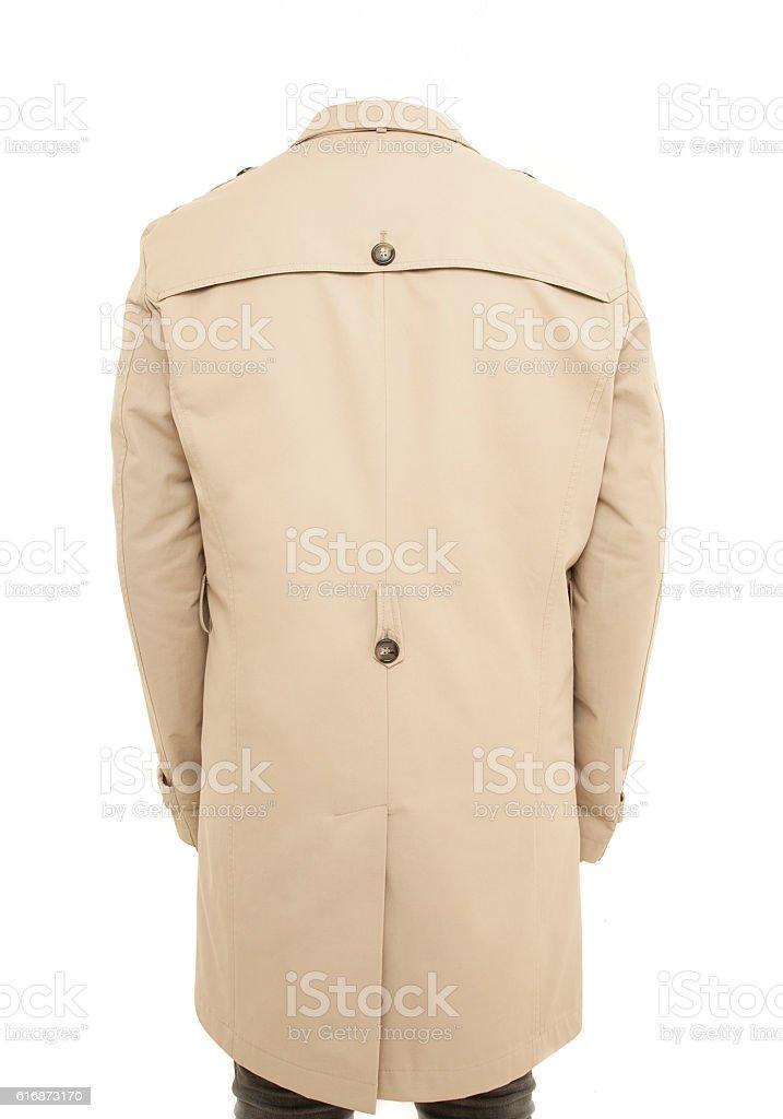 Isolated trenchcoat on body on white stock photo