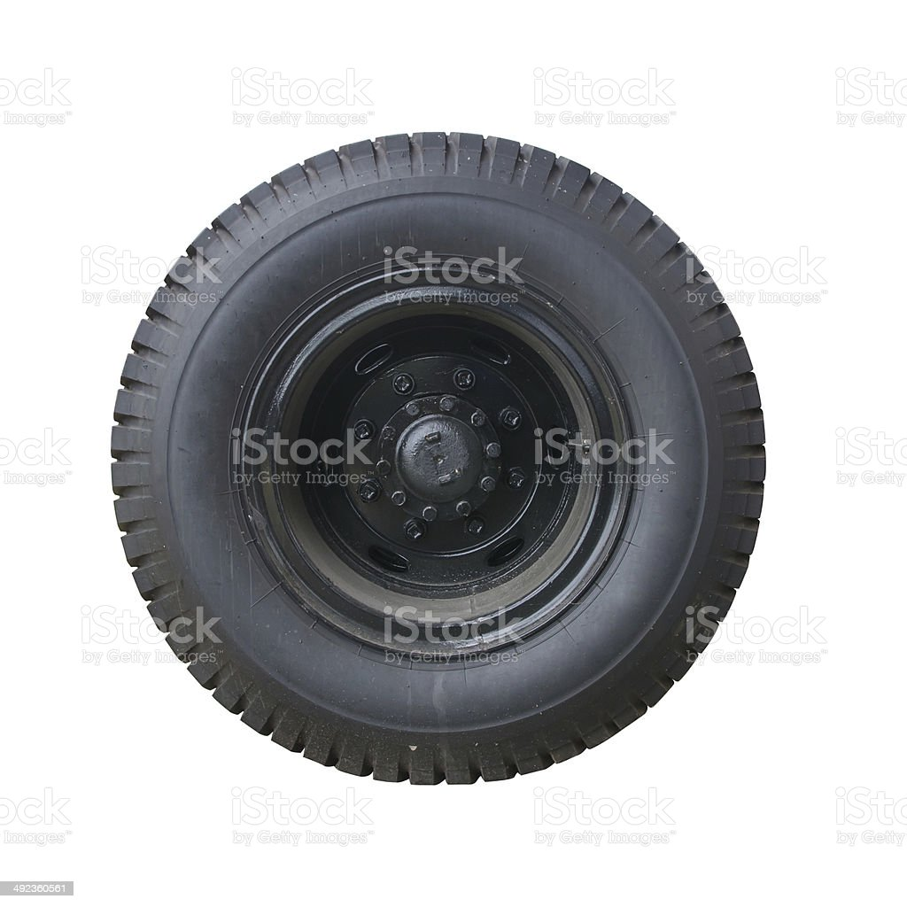 Isolated truck wheel and tire stock photo