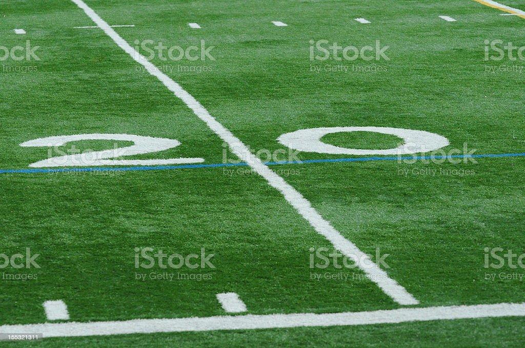 Isolated Twenty Yard Line on Football Field royalty-free stock photo
