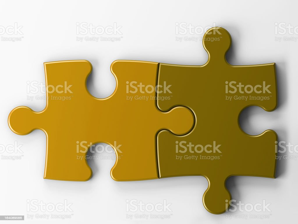 isolated two puzzle pieces with clipping path royalty-free stock photo