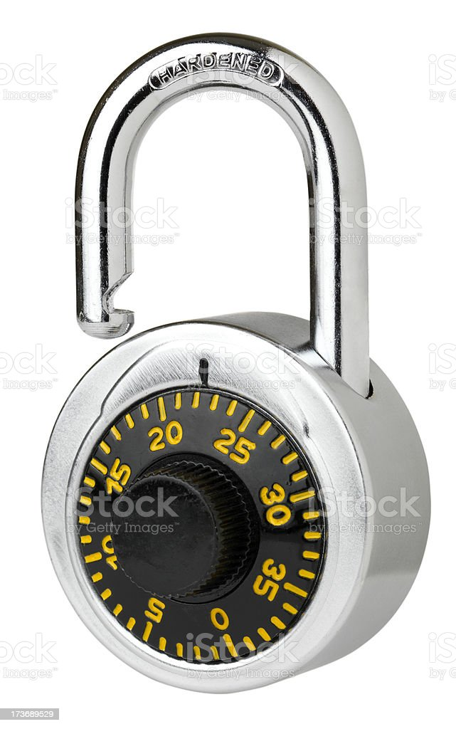 Isolated unlocked padlock royalty-free stock photo