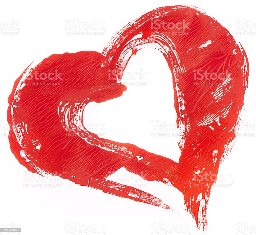 isolated untidily pained red heart on white royalty-free stock vector art