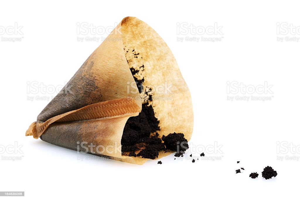 Isolated Used Coffee Filter stock photo