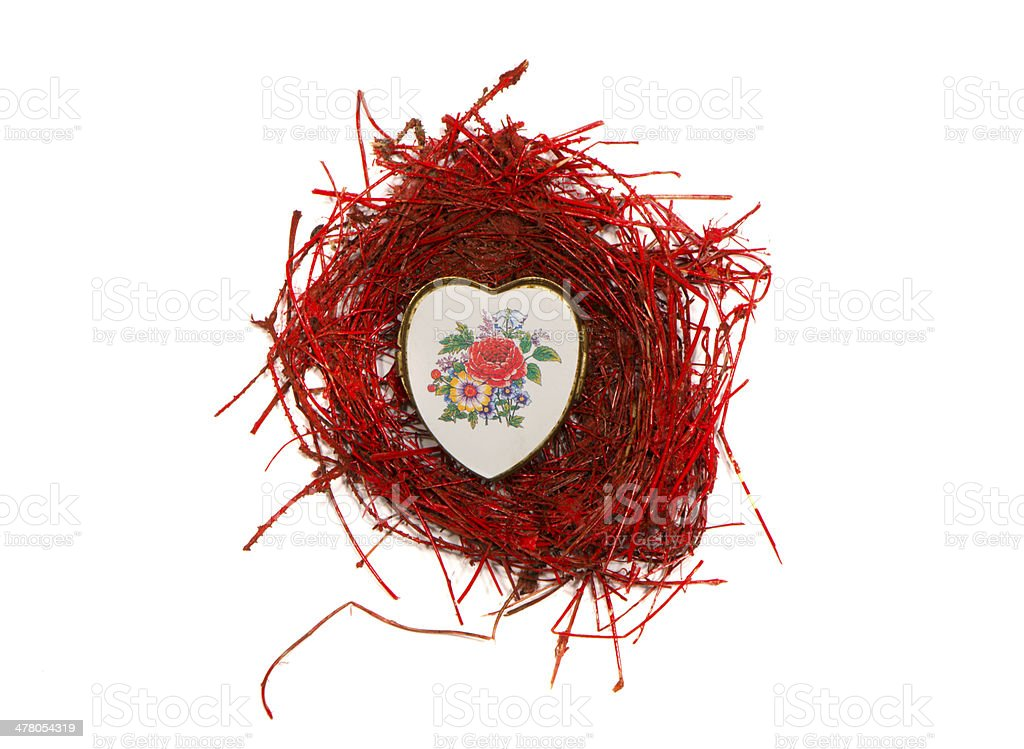 isolated valentine day nest with heart form  box stock photo
