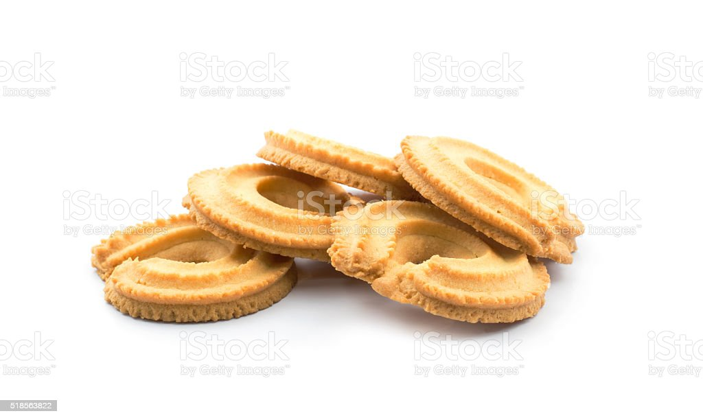 Isolated vanilla ring butte cookies or biscuit stock photo