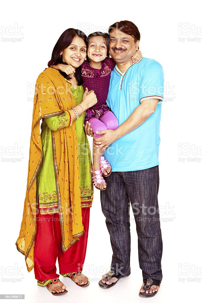 Isolated Vertical Portrait of Cheerful Indian Family royalty-free stock photo