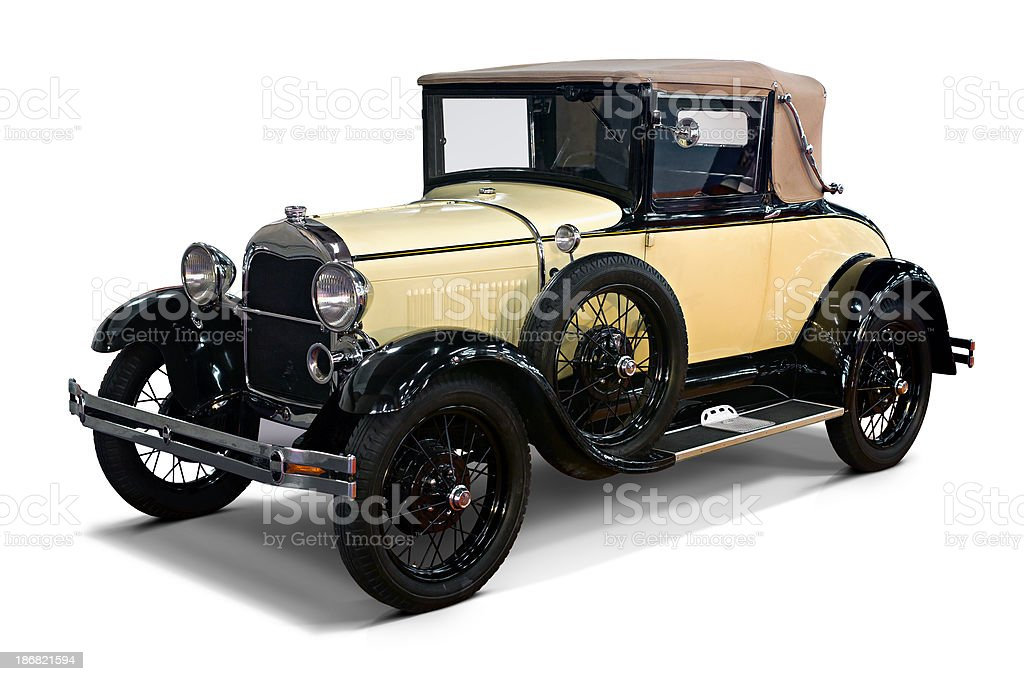 isolated vintage convertible car royalty-free stock photo