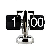 Isolated vintage flip clock at one o'clock
