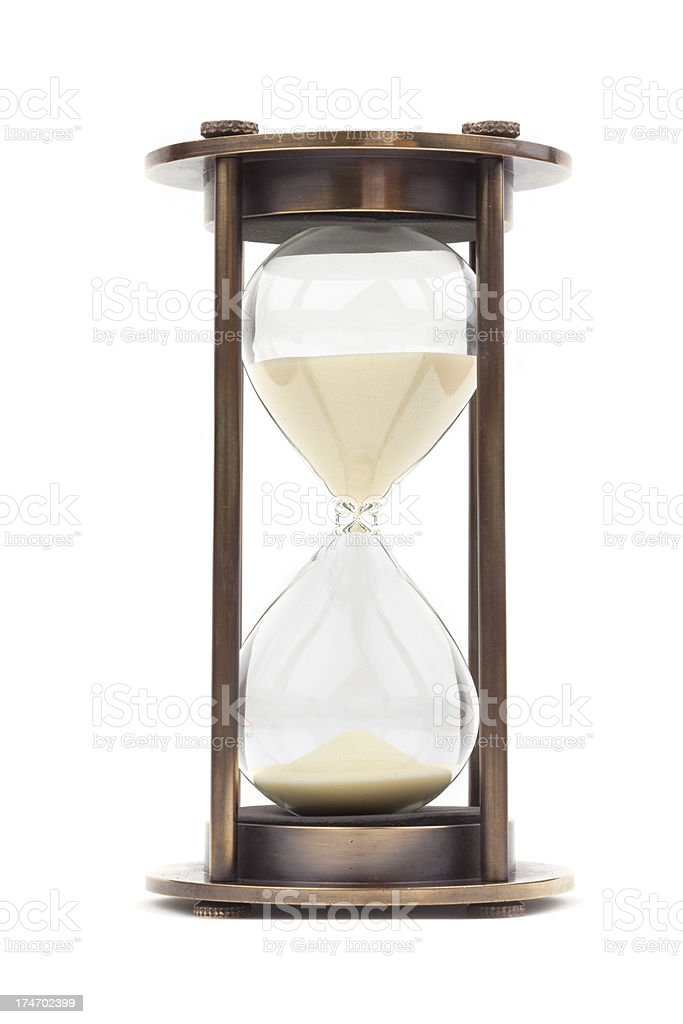 isolated vintage hourglass royalty-free stock photo