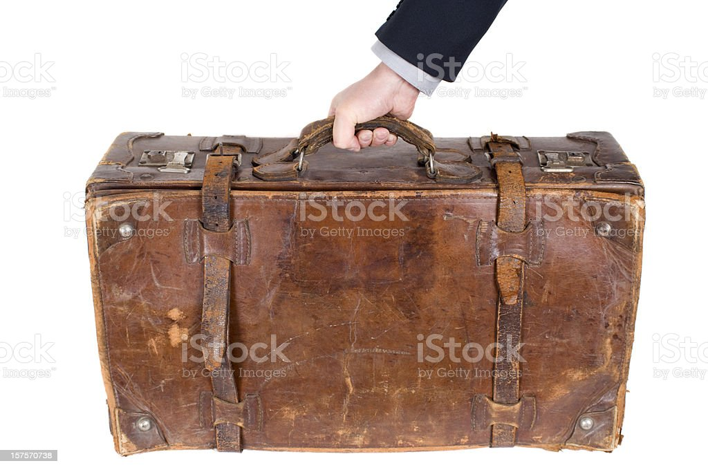 Isolated vintage old suitcase royalty-free stock photo