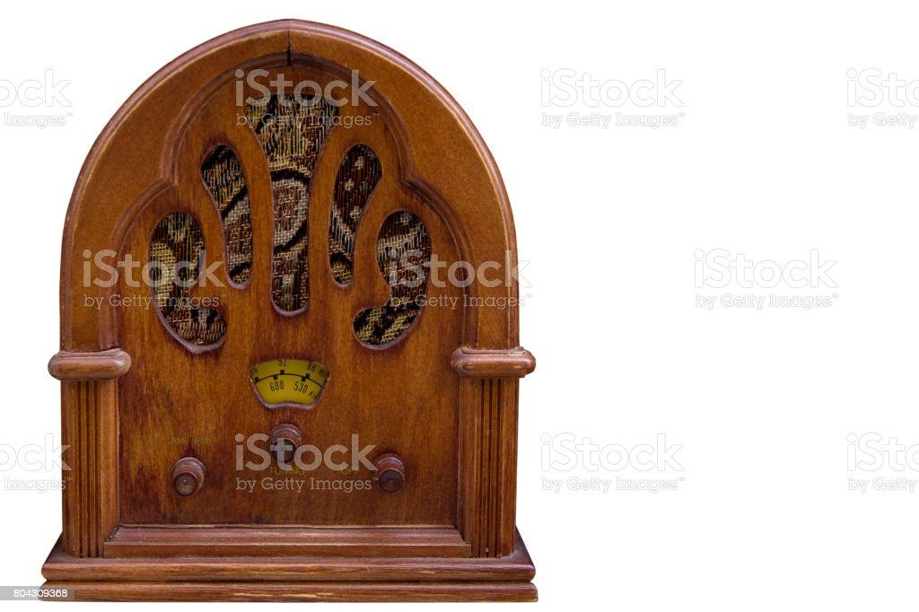 Isolated vintage radio on white background stock photo