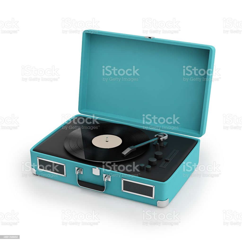 Isolated vintage turqoise turntable stock photo
