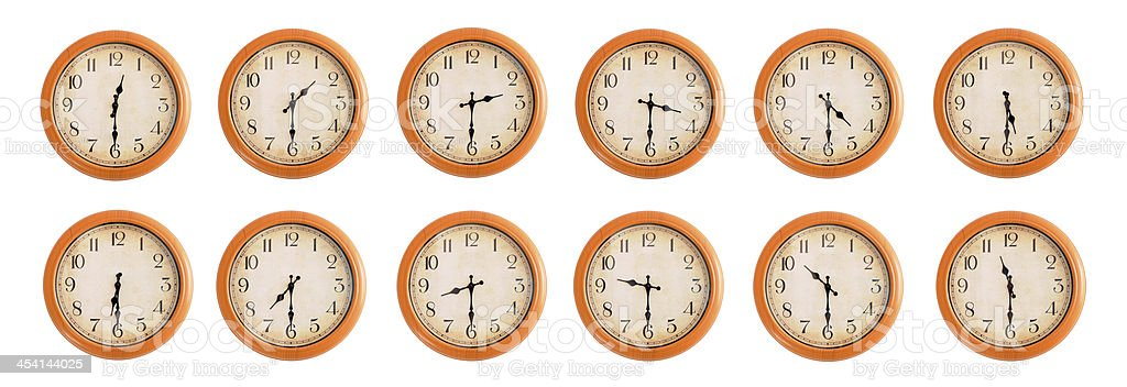 Isolated wall clocks set on white background #2/4 royalty-free stock photo