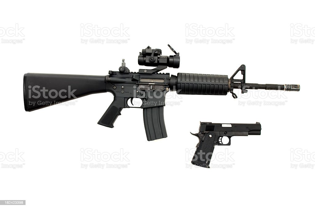Isolated weapons stock photo