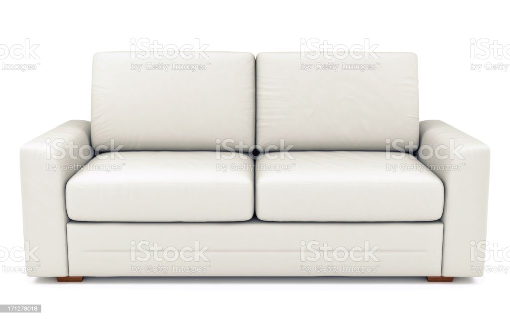 Isolated White Leather Sofa stock photo