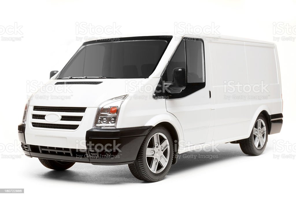 Isolated White Van (with 5 clipping paths) royalty-free stock photo