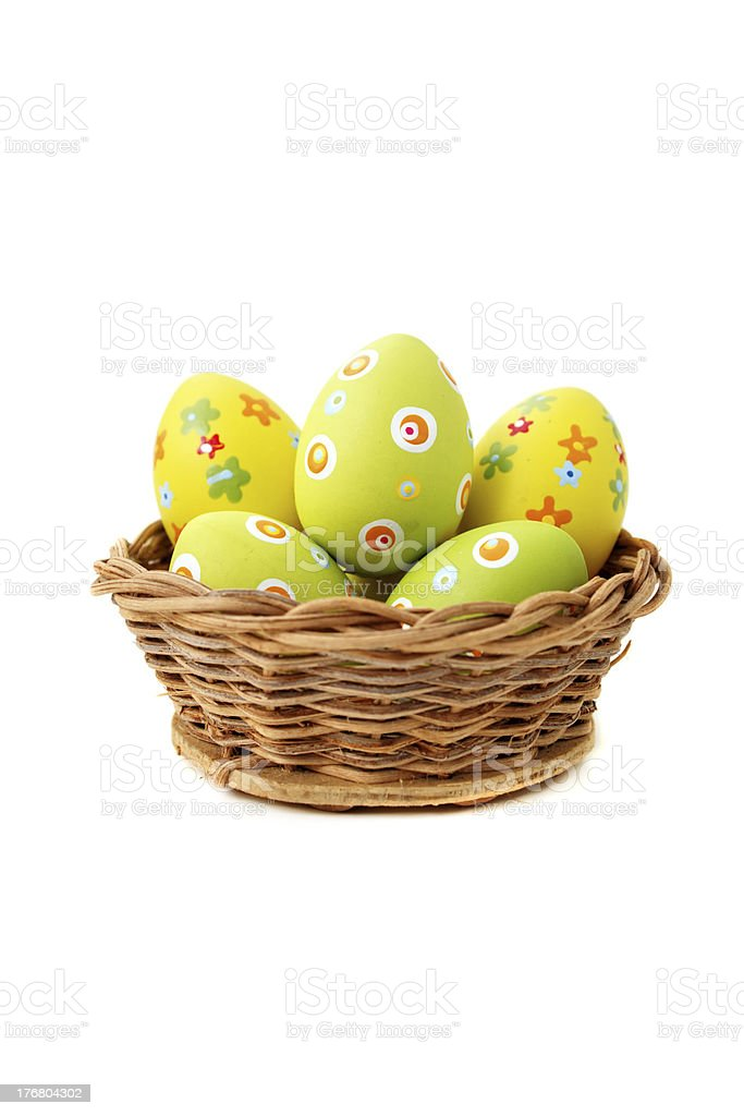 Isolated wicker Easter basket stock photo