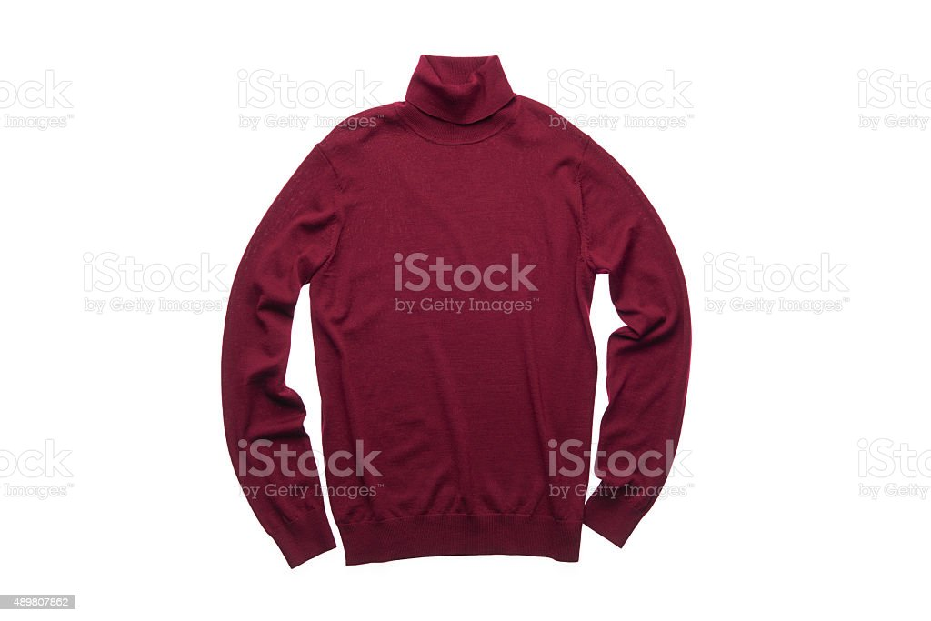 isolated wine red turtleneck sweater stock photo