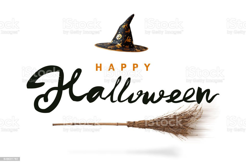 Isolated witch's hat with broom background Halloween calligraphy stock photo