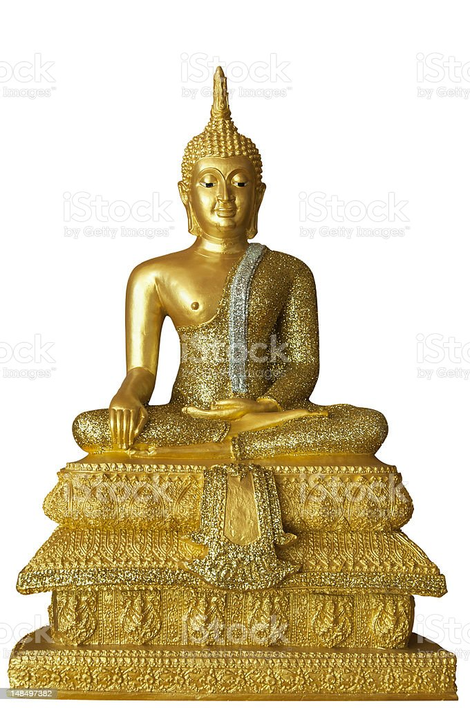 Isolated with Golden Buddha Statue stock photo