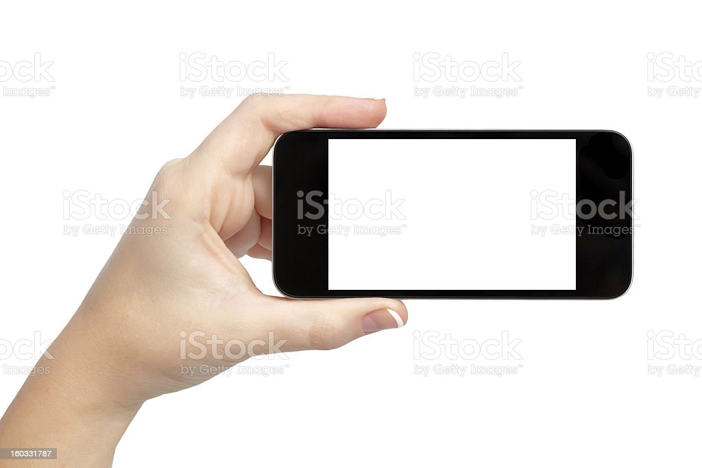 isolated woman hand holding the phone royalty-free stock photo