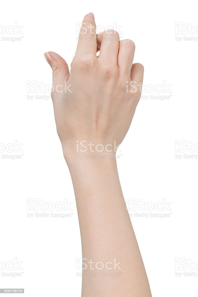 Isolated Woman Hand Shows Pinch to Zoom or Holding object stock photo