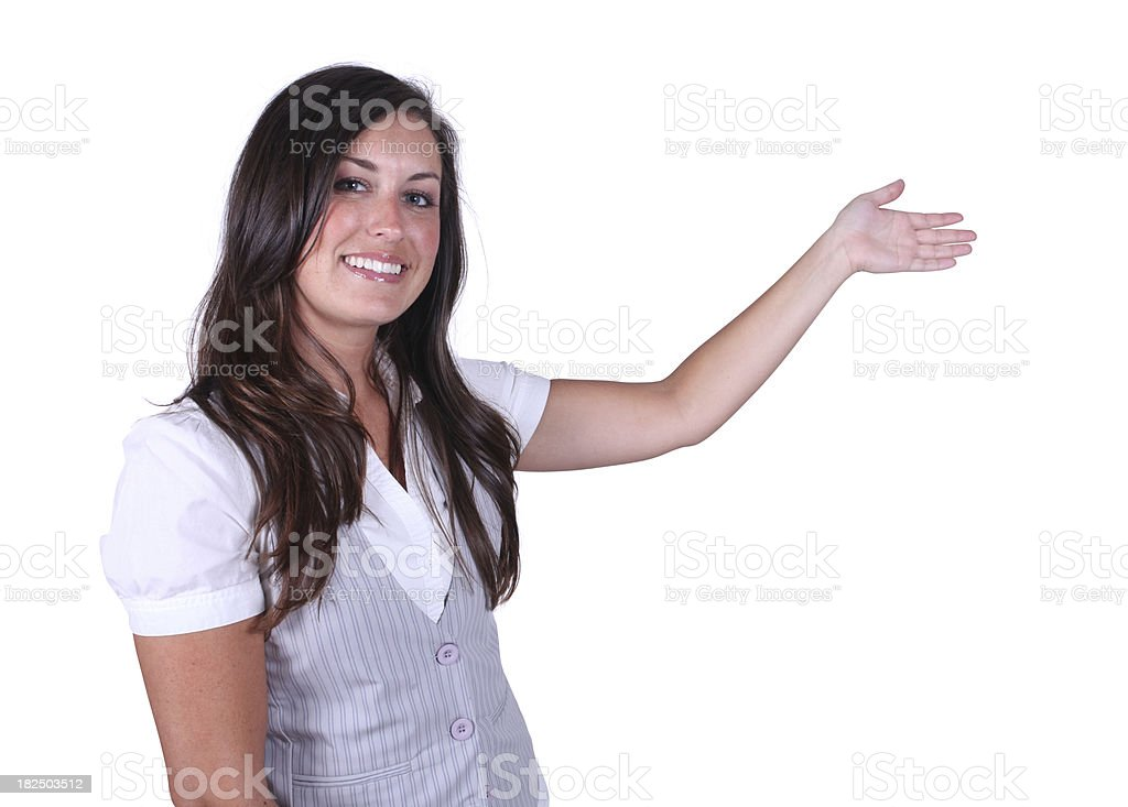 Isolated woman hand up presenting royalty-free stock photo