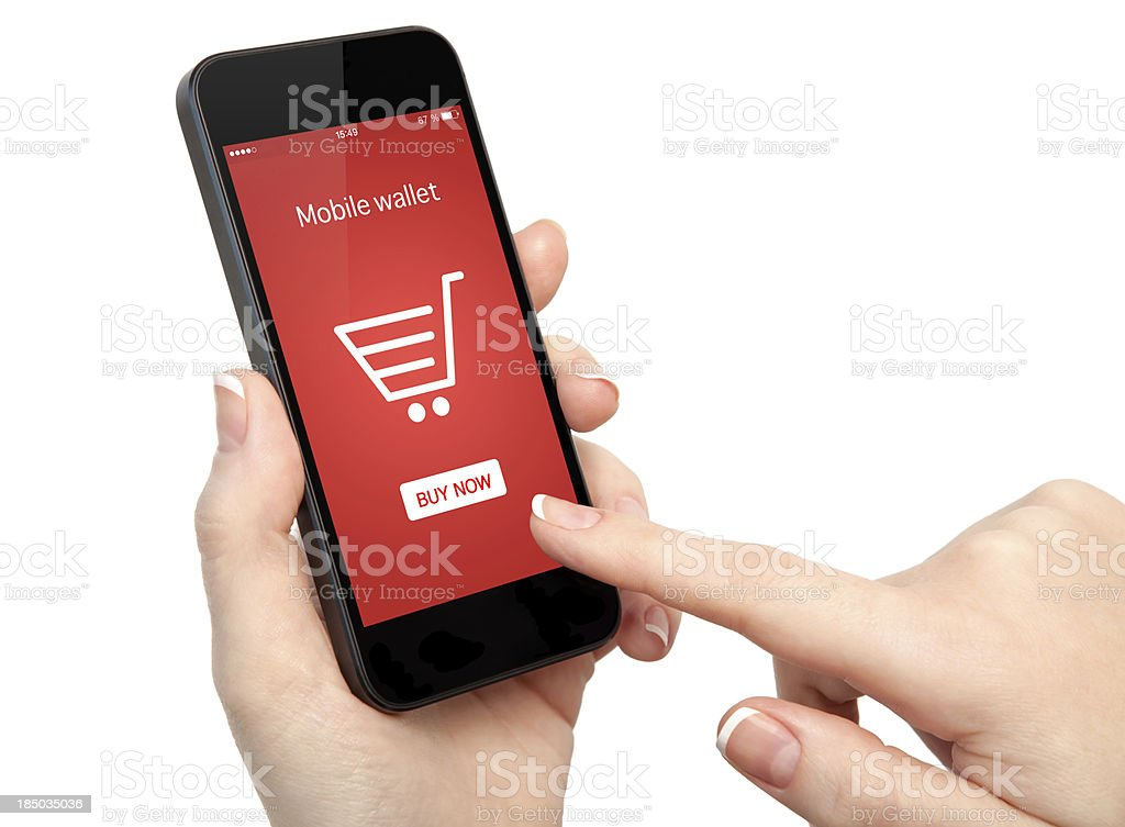 isolated woman hands holding a phone and make online shopping royalty-free stock photo