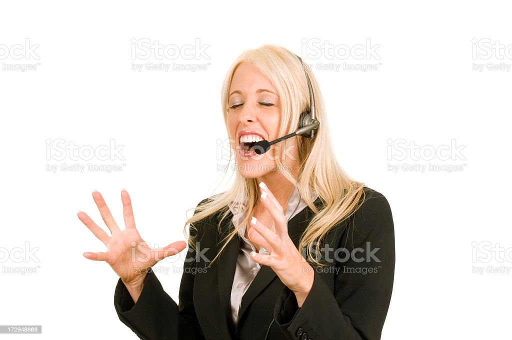 Isolated Woman in Business Suit Expressing frustration royalty-free stock photo