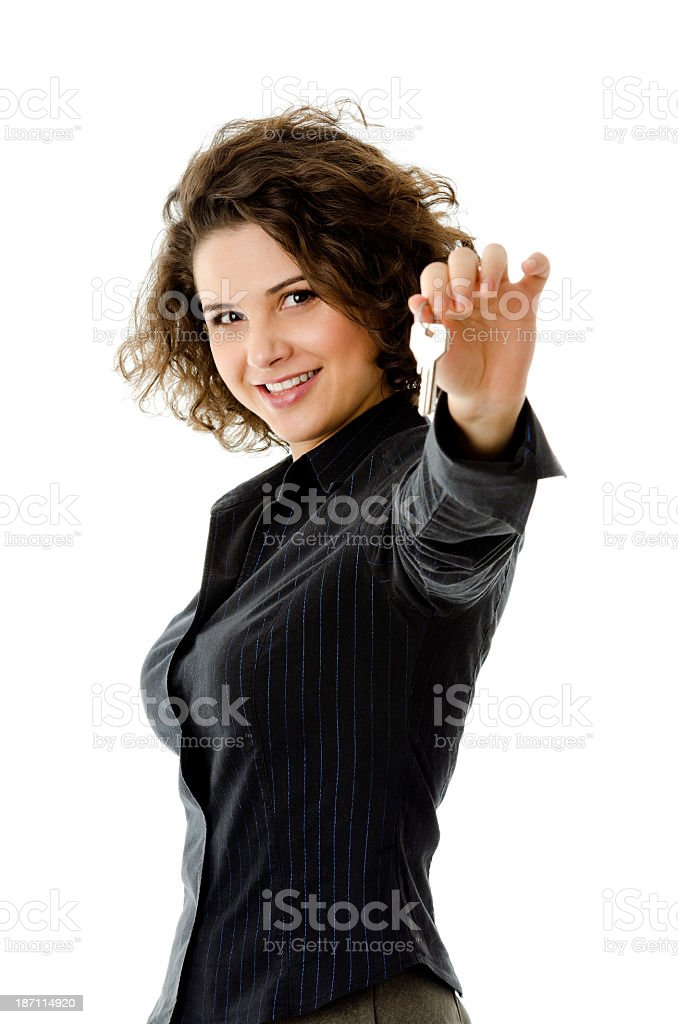 Isolated woman with key stock photo