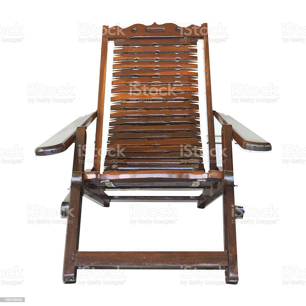 Isolated wood arms chair overwhite background - clipping path stock photo