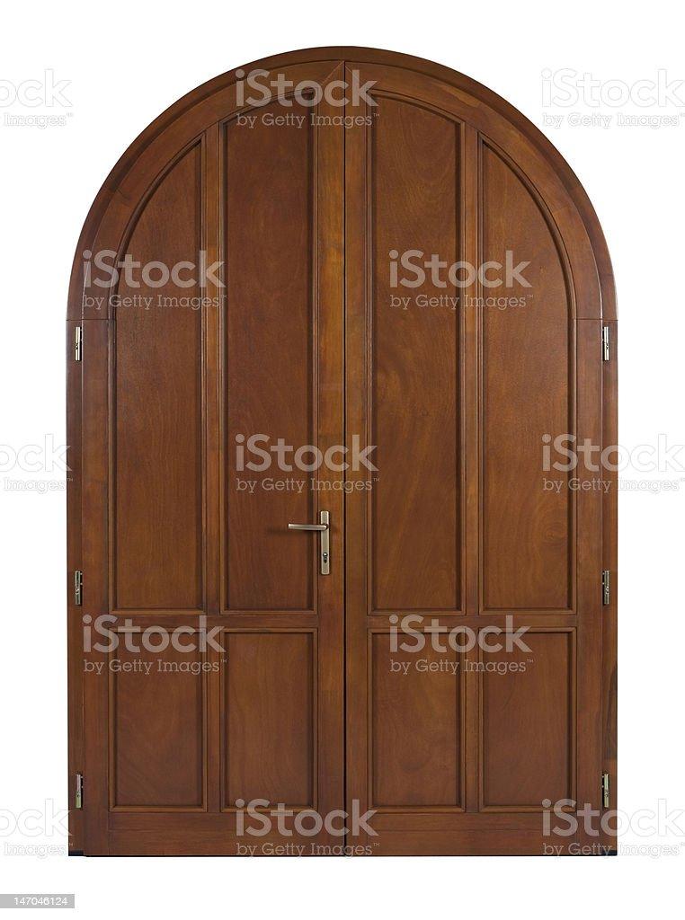 Isolated wooden door stock photo