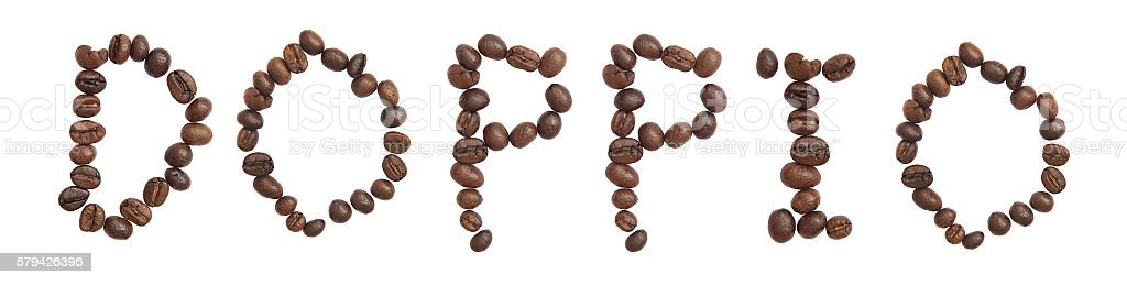 Isolated Word 'DOPPIO' make from coffee bean stock photo