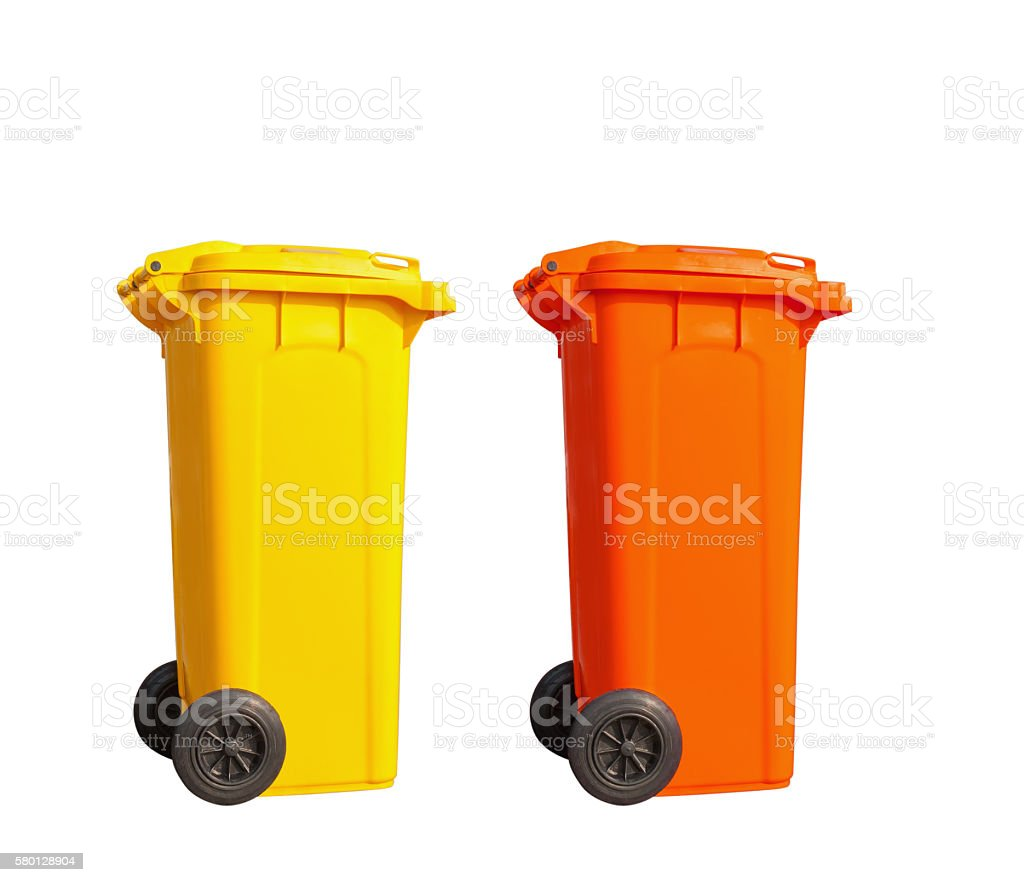 Isolated yellow and orange garbage bin stock photo
