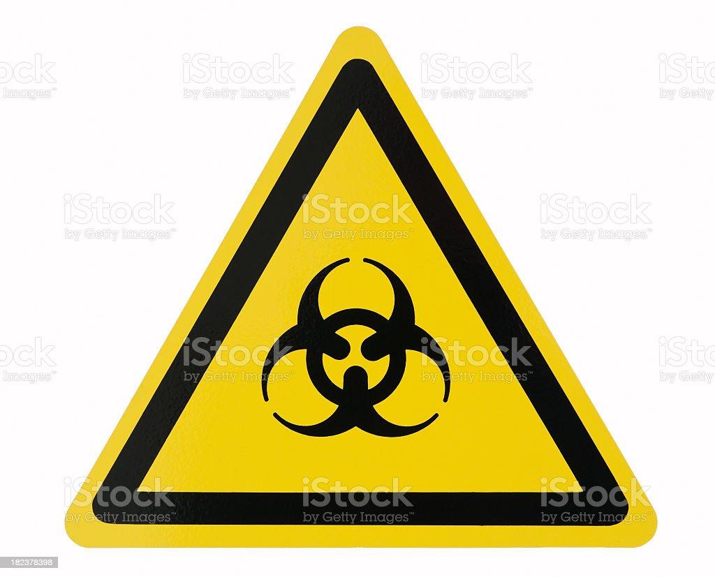 Isolated yellow biohazard symbol on white background stock photo