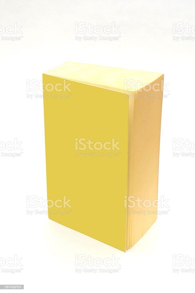 isolated yellow book with blank cover - add your text royalty-free stock photo
