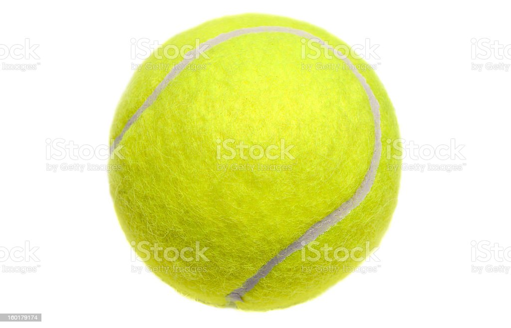 Isolated yellow tennis ball on white stock photo