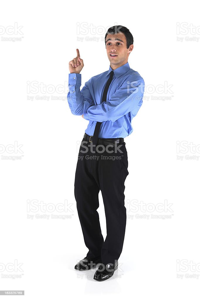 Isolated young businessman has an idea royalty-free stock photo