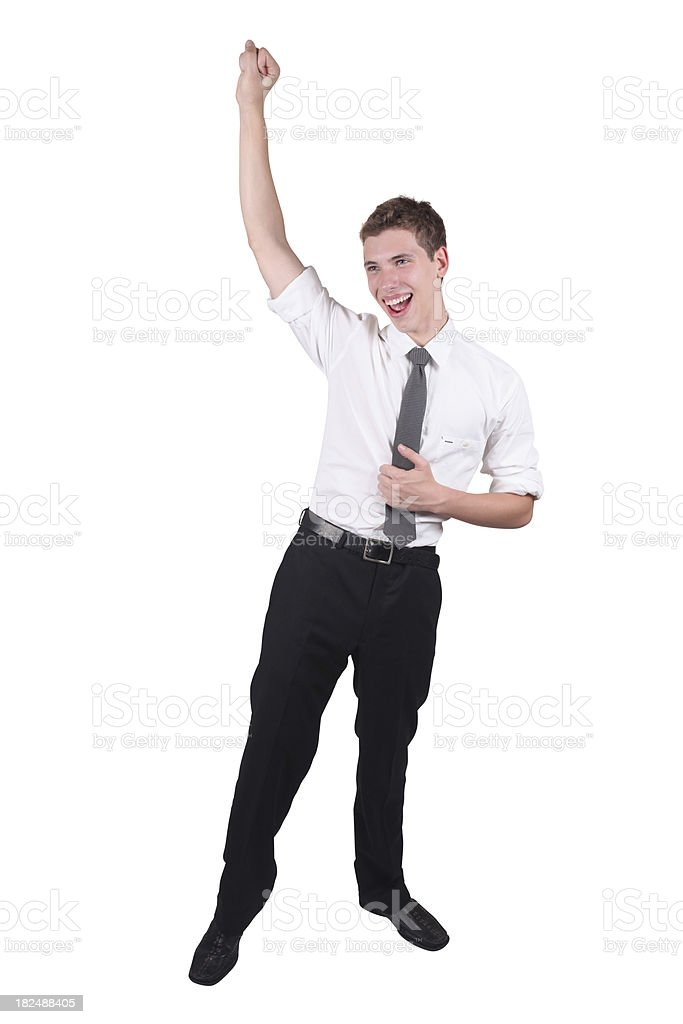 Isolated young businessman raised fist royalty-free stock photo