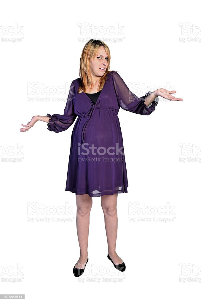 Isolated young pregnant woman stock photo