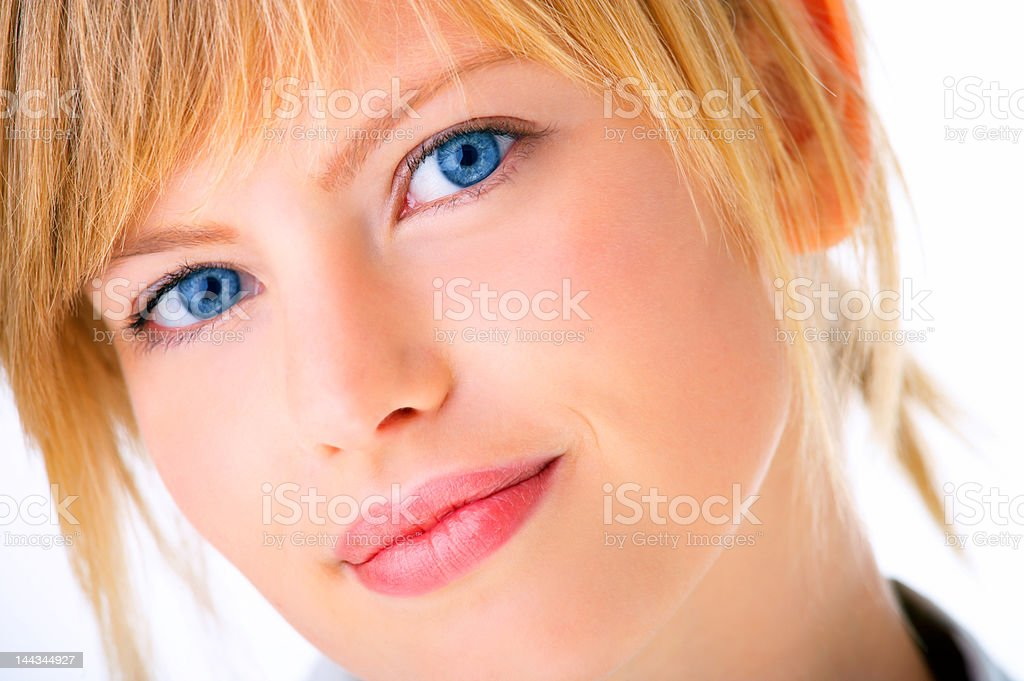Isolated young woman thinking royalty-free stock photo