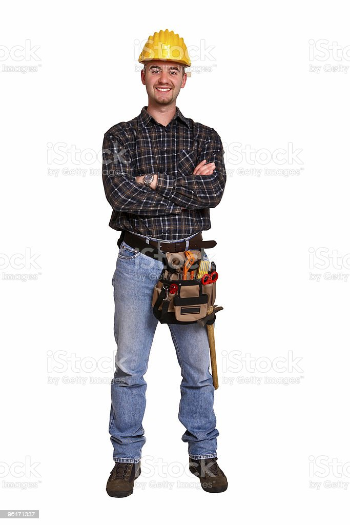 Isolated young worker with tools 7 royalty-free stock photo