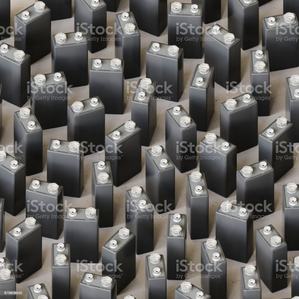 Isometric Array of Dark Grey 9volt Batteries stock photo