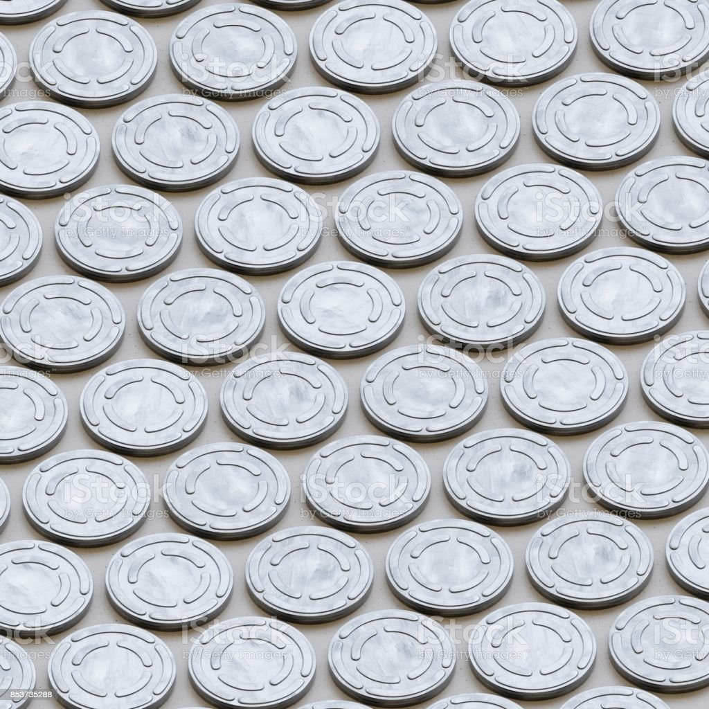Isometric Array of Shiny Steel Aluminium Film Reel Cans stock photo