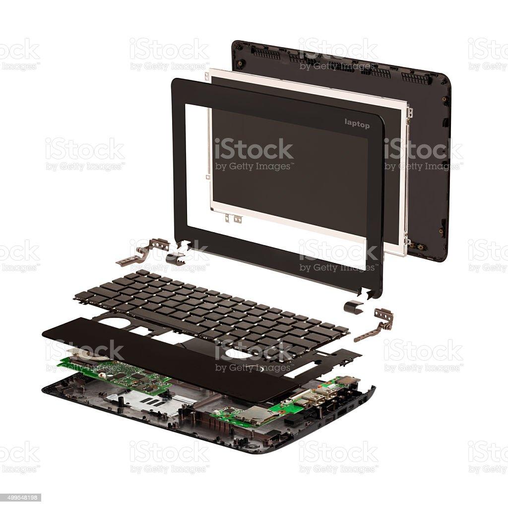 Isometric. Disassembled laptop. stock photo